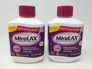 MiraLAX Powder Laxative, Twin Pack 2 Bottles x 34 Doses, 20.4 Ounces per Bottle