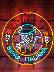 """New Birra Moretti Brewing Neon Light Sign 24""""x24"""" Lamp Poster Real Glass"""