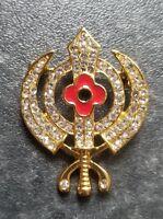 Stunning Diamonte Gold Plated SIKH WAR Remembrance Day Poppy Khanda Brooch Pin