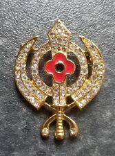Stunning Diamonte Gold Plated Sikh War Rememberance Day Poppy Khanda Brooch Pin