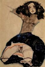 Egon Schiele Black Haired Girl With Lifted Skirt Erotic 12x8 Inch Print