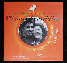 "2005 Netherlands-Canada ""60 Years of Liberation"" Set With .925 Silver Token"