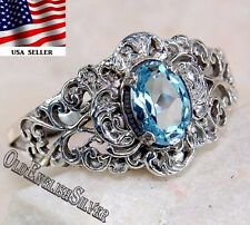 2CT Aquamarine 925 Solid Sterling Silver Art Nouveau Filigree Ring Jewelry Sz 8