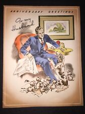 VINTAGE 40s Anniversary Card To My Husband Puppies Dog Man Newspaper Pipe
