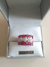 STERLING SILVER  GORGEOUS  RUBY & STAR  3 ROW  CUBIC ZIRCONIA RING