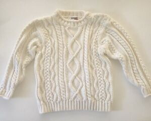 Tommy Hilfiger Ivory Cable Knit Sweater Boys 4T Long Sleeve Shoulder Buttons