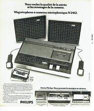 Publicité Advertising 037  1975  Philips  magnétophone cassettes N 2412 stéréo