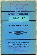 BOND MINICAR Mark F THREE WHEELER Car Instruction Book c1960 ?