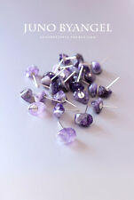 Natural cute amethyst stone earrings silver stud A Pair