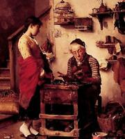 "Nice Oil painting The Cobbler elder portrait with young girl canvas 24""x36"""