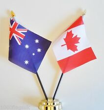 Australia & Canada Double Friendship Table Flag Set