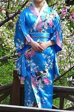 Vintage Floral Yukata Gown Japanese Kimono Costume Robe Haori Dress with Obi