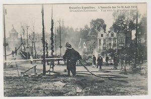 Bruxelles Exhibition 1910 Carte Postale - L'Incendie 1910,Vue Vers Le Grand
