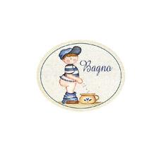 Targa legno Ovale BAGNO Bambino Vintage toilette idea regalo benessere made ital