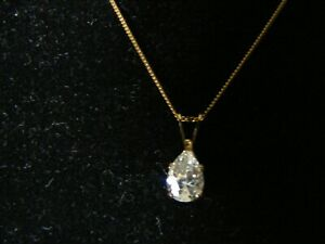 "9ct GOLD NECKLACE with CUBIC ZIRCONIA STONE PENDANT - 18"" - 1.23 grams"