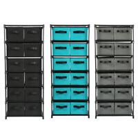 Storage Shelf Unit Drawers Rack Closet Organizer With 12 Foldable Storage Bins
