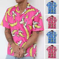 Men Hawaiian Summer Floral Beach Short Sleeve Camp Holiday Shirt Tops Blouse New