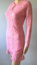 Womens Pink Lace Long Sleeve Dress Mini Sheath Flounce Crochet Lace Keyhole S