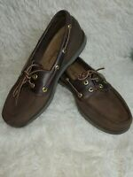 Rockport Ports of Call Perth Men's 9W Brown Leather Slip On Boat Shoes Loafers