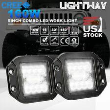 2x 4inch 160W Flush Mount CREE LED Work Light Pods Combo Driving Lamp 12V 24V 5