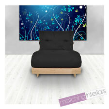 Black Budget Single Futon Cotton Mattress 1 Seater Sofabed Sofa Guest Armchair