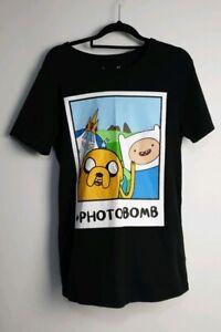 Adventure Time Men's  Cartoon Network Black T-Shirt Size XS