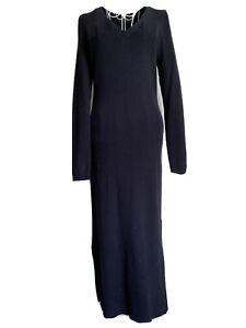 Next Women's Jumper Dress Size 12 Black V Neck Long Sleeved Side Split