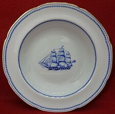 "SPODE china TRADE WINDS BLUE pattern W146B Large Rim Soup or Salad Bowl - 9"""