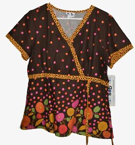 S&B floral brown & dots SCRUB top in large NWT ' Scrubs and Beyond'