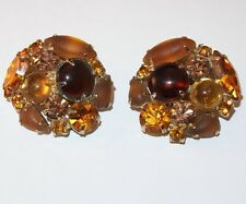 VINTAGE KARU ARKE INC AMBER CITRINE RHINESTONES FROSTED GLASS CABOCHONS EARRINGS