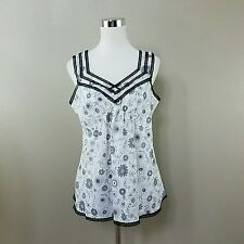 CHARACTER Women White & Black Floral L Tank Top NEW WITH TAG