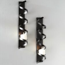 Modern Contemporary Set of 2 Black Metal Sculptural Wall Sconces Candle Holders