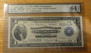 Fr 714 1918 FRBN $1 Dollar Philadelphia PSG Currency 64 Choice UNC