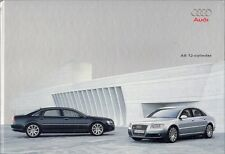 AUDI A8 W12 6.0 & LWB 2004-05 mercado del Reino Unido Folleto de ventas de tapa dura