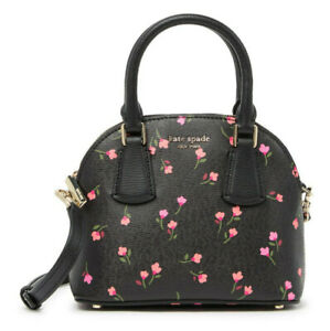 Kate Spade sylvia Meadow Floral Mini Dome Satchel crossbody ~NWT~ Black