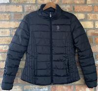 U.S. Polo ASSN Women's Puffer Jacket Black Medium fully Lined Zip Up Pockets EUC