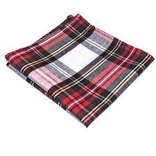 Mens Pocket Square Handkerchief Hanky Christmas Green White Red Tartan