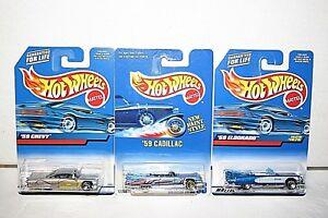 lot (3) Hot Wheels '59 Chevy Impala #116, Cadillac #266, Eldorado #1076