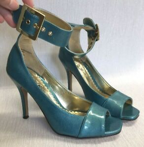 Wild Rose Patent Ankle strap Peep Toe Shoes size UK 5.5