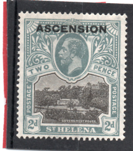 Ascension GV  1922  o/print, 2d black & grey sg 4 VLH.Mint