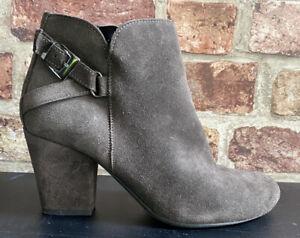 Dark Brown Suede White Stuff Ankle Boots UK 4 37 Buckle Lightly Worn