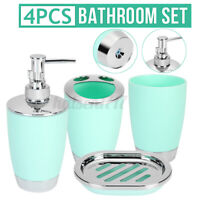 4X Bathroom Accessories Set Bath Toilet Brush Lotion Bottles Holder Soap Dish-US