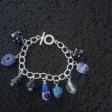 Silver Plated Bracelet with Glass and Clay Beads.T-Bar Clasp.Handmade.