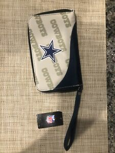 Dallas Cowboys Wristlet Wallet, Organizer Purse NFL Hologram Curve Zip New