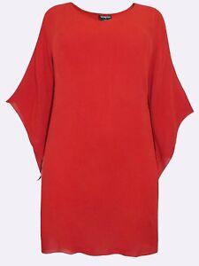NEW Eaonplus CARDINAL RED Crinkle Viscose Elvira Tunic Top Sizes UK 18 to 32