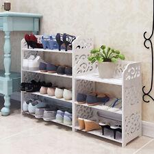 White Wood Shoe Rack Organiser Shelf 3/4/5 Tier Plant Pot Display Storage Stand
