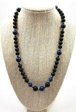 Lapis LAZULLI Black Onyx Beaded Necklace Woman's Vintage Gemstone Jewellery