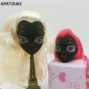 Kids Toy Black Face Demon Monster Doll Head with Wig Hair For 1/6 Doll House