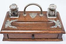 English Walnut Inkwell stand - Vintage
