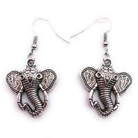 Elefante India Pendientes Colgante Plata Metal